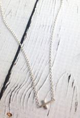 Dogeared Silver Faith Sideways Cross Necklace