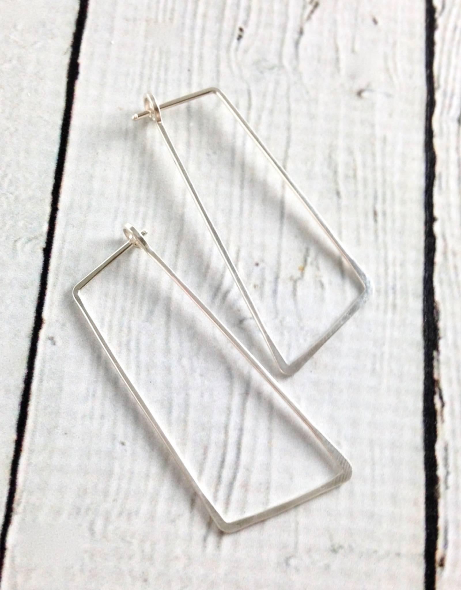 Freshie & Zero Sterling Silver Shift (Large Angled Rectangle) Minimal Hoop Earrings