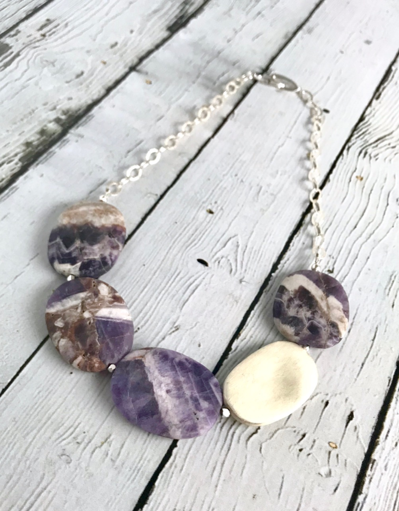 Handmade Necklace with Large Smooth Matte Dogtooth Amethyst and Brushed Silver Stones