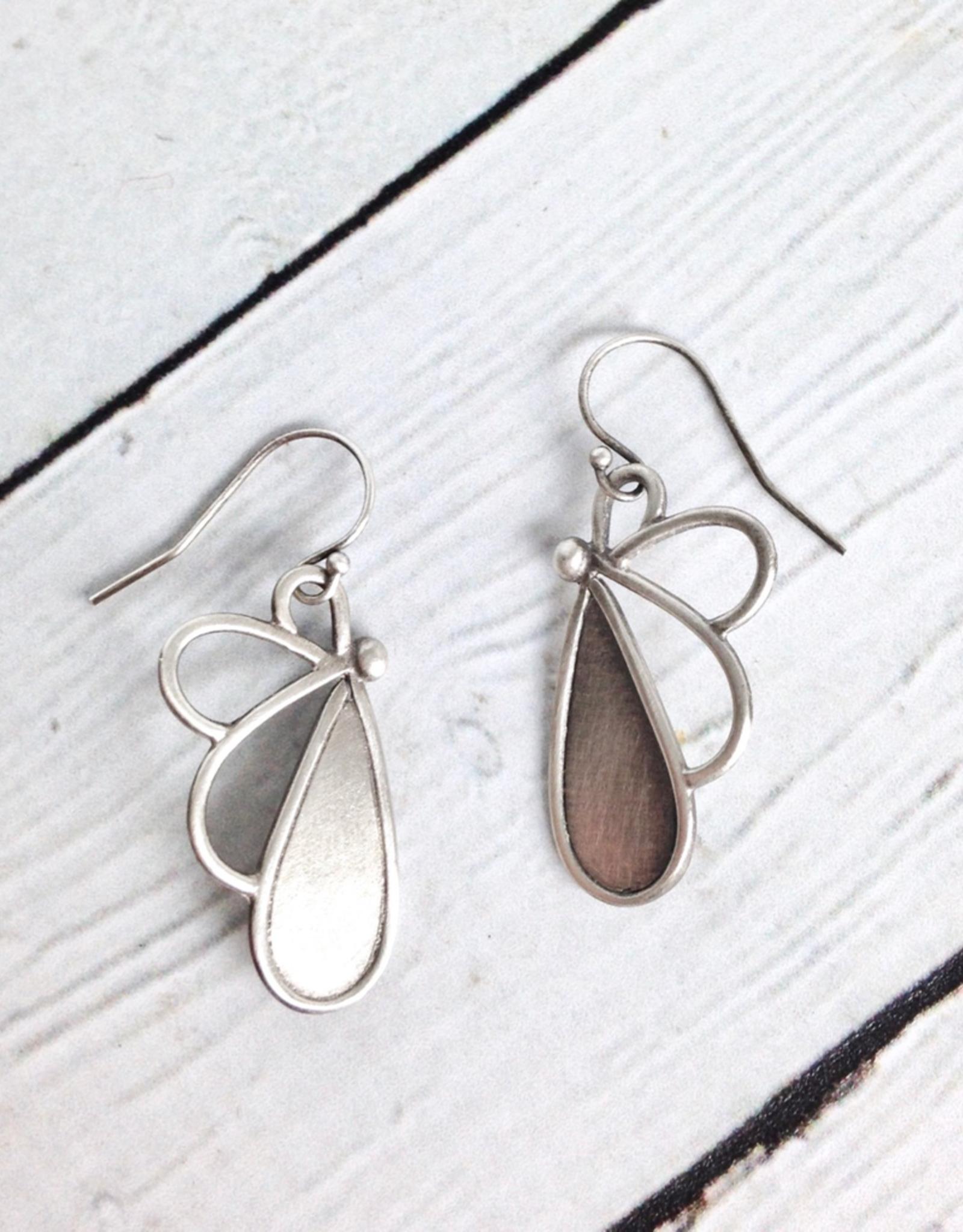 Handmade Matte Sterling Silver Petal Earrings by Julia Britell Designs