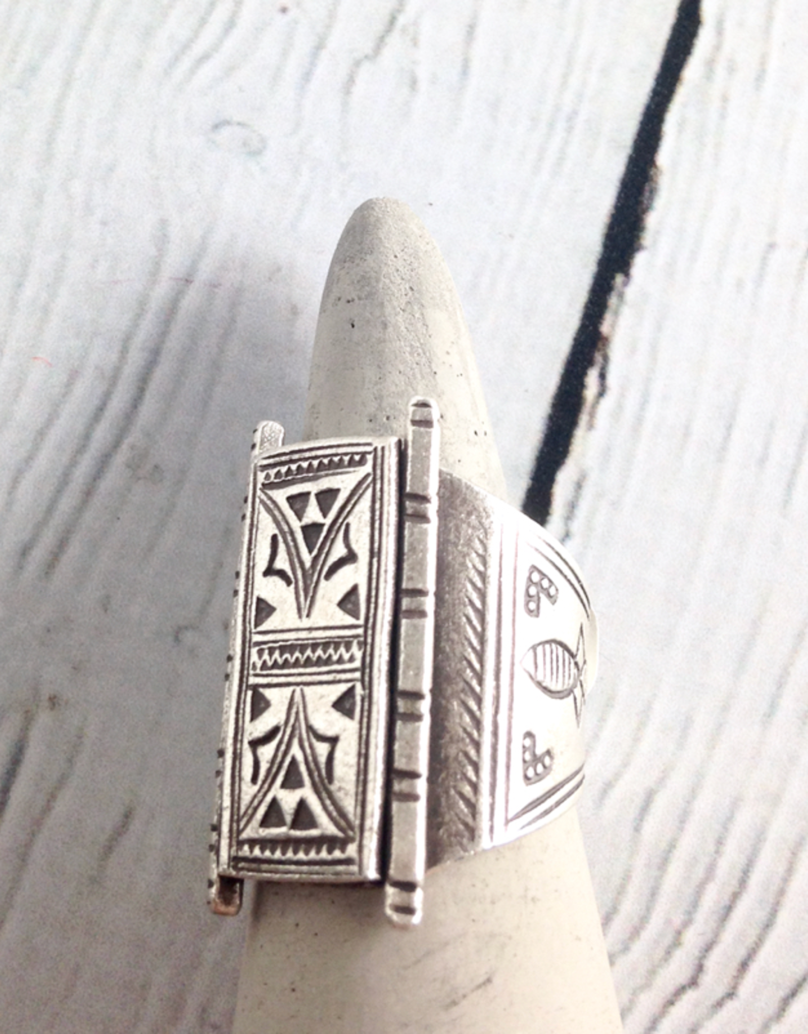 TigerMtn Temple Door Stamped Hilltribe Silver Ring, Size 7
