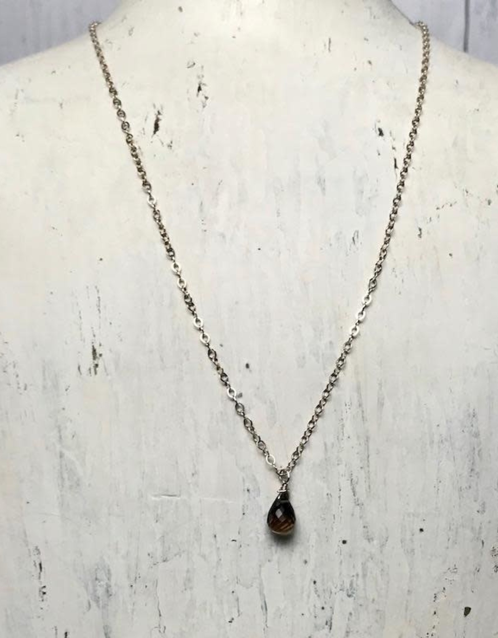 Handmade Silver Necklace with Topaz Briolette