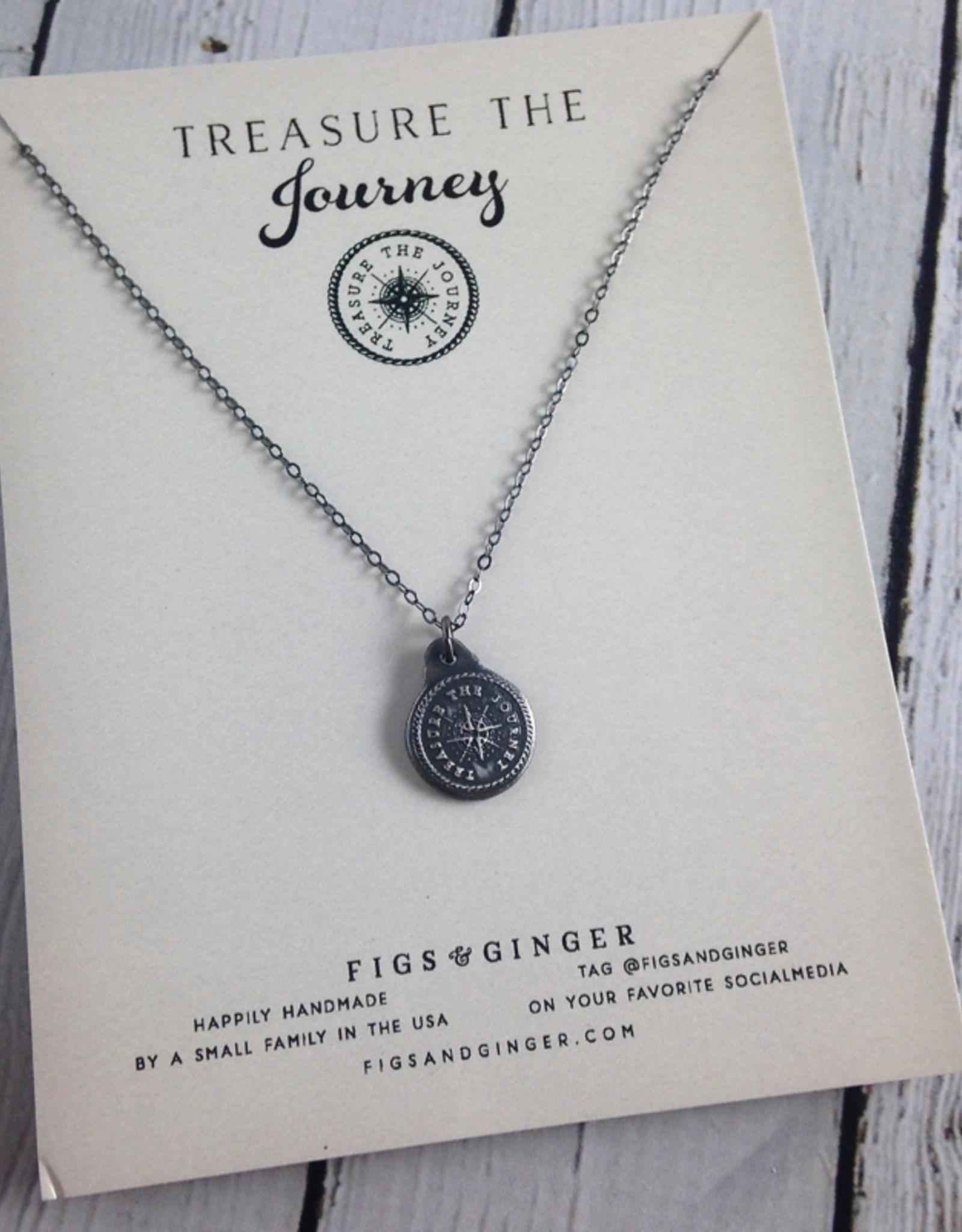 FIGS&GINGER Treasure the Journey Medallion Necklace made of Recycled Sterling Silver