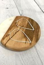Sterling Silver Flat V Hoop Earrings