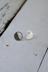 Matte Sterling Silver Half-filled Circle Stud Earrings