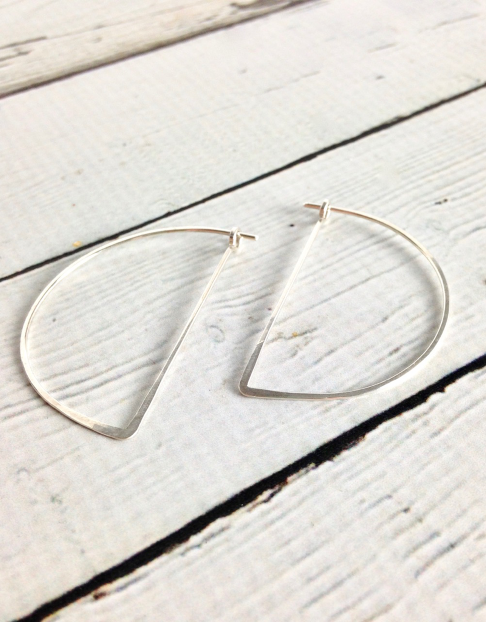 Freshie & Zero Sterling Silver Half Moon Minimal Hoop Earrings