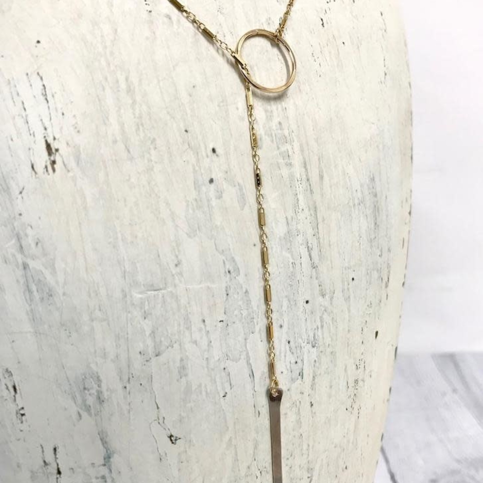 """Gold Filled Chain and Silver Bar Stem Lariat (24"""")"""