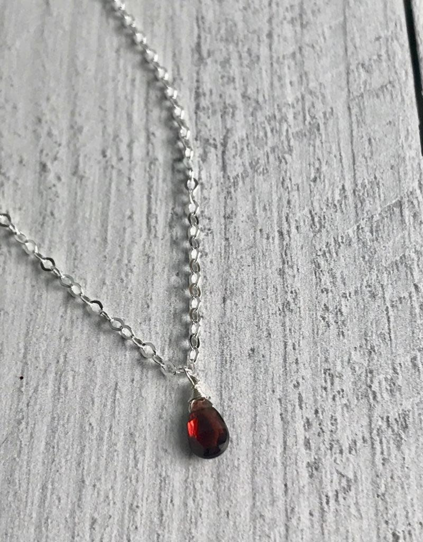 Handmade Silver Necklace with Garnet Briolette