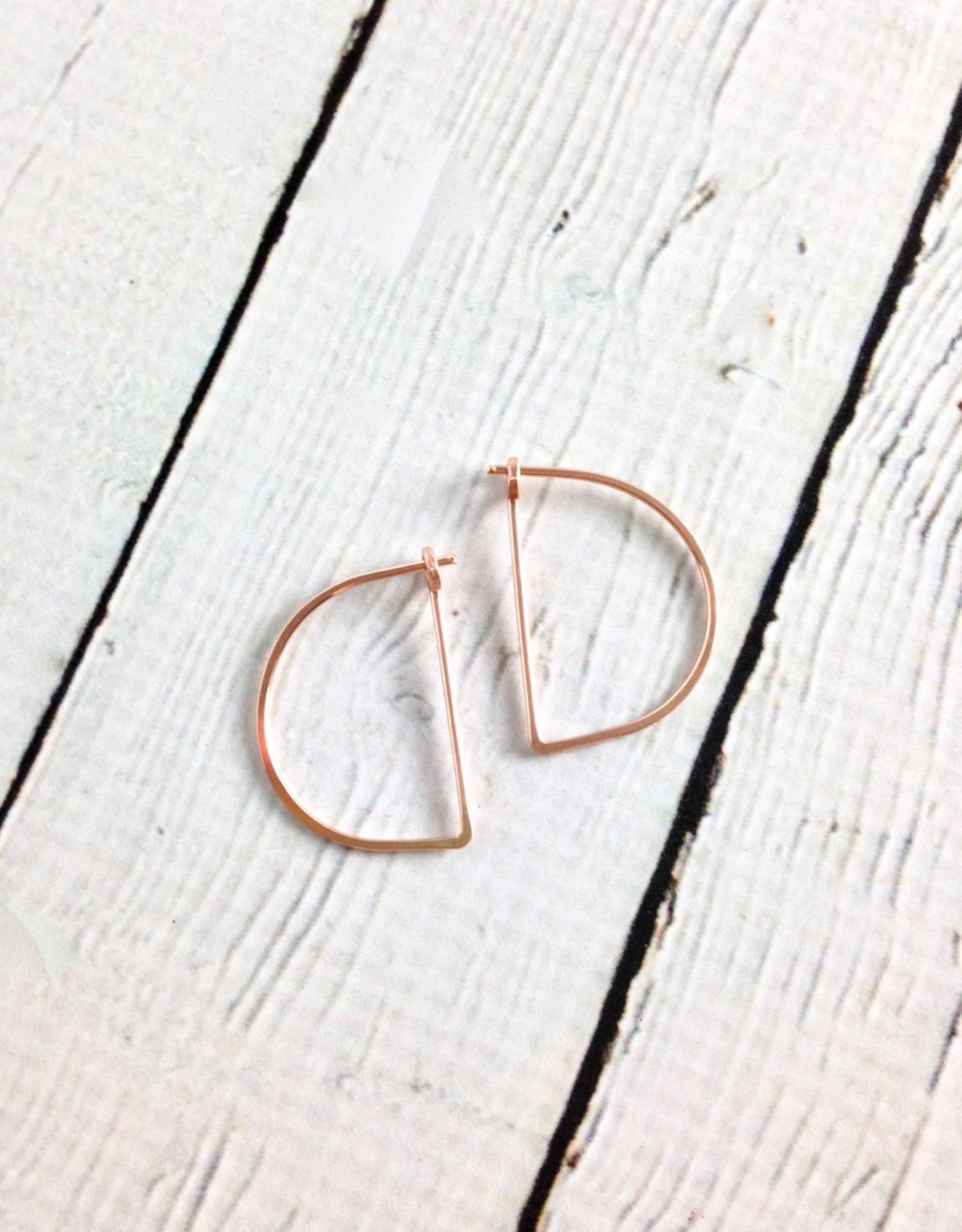 Freshie & Zero Rose Gold FilledSmall Half Moon Minimal Hoop Earrings
