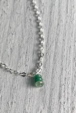 Handmade Silver Necklace with Tiny Emerald Stack