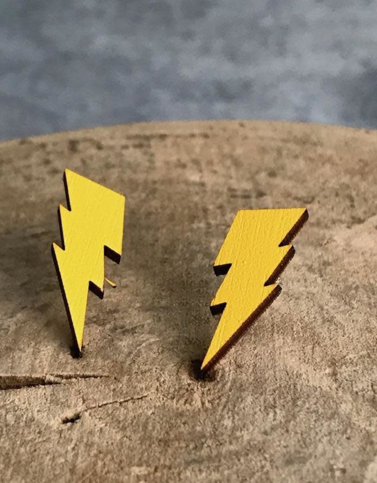 Handmade Lightning Bolts Yellow Lasercut Wood Earrings On Sterling Silver Posts Silver In The City