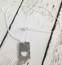 Twigs and Twine Handstamped Hammered Heart Indiana Necklace