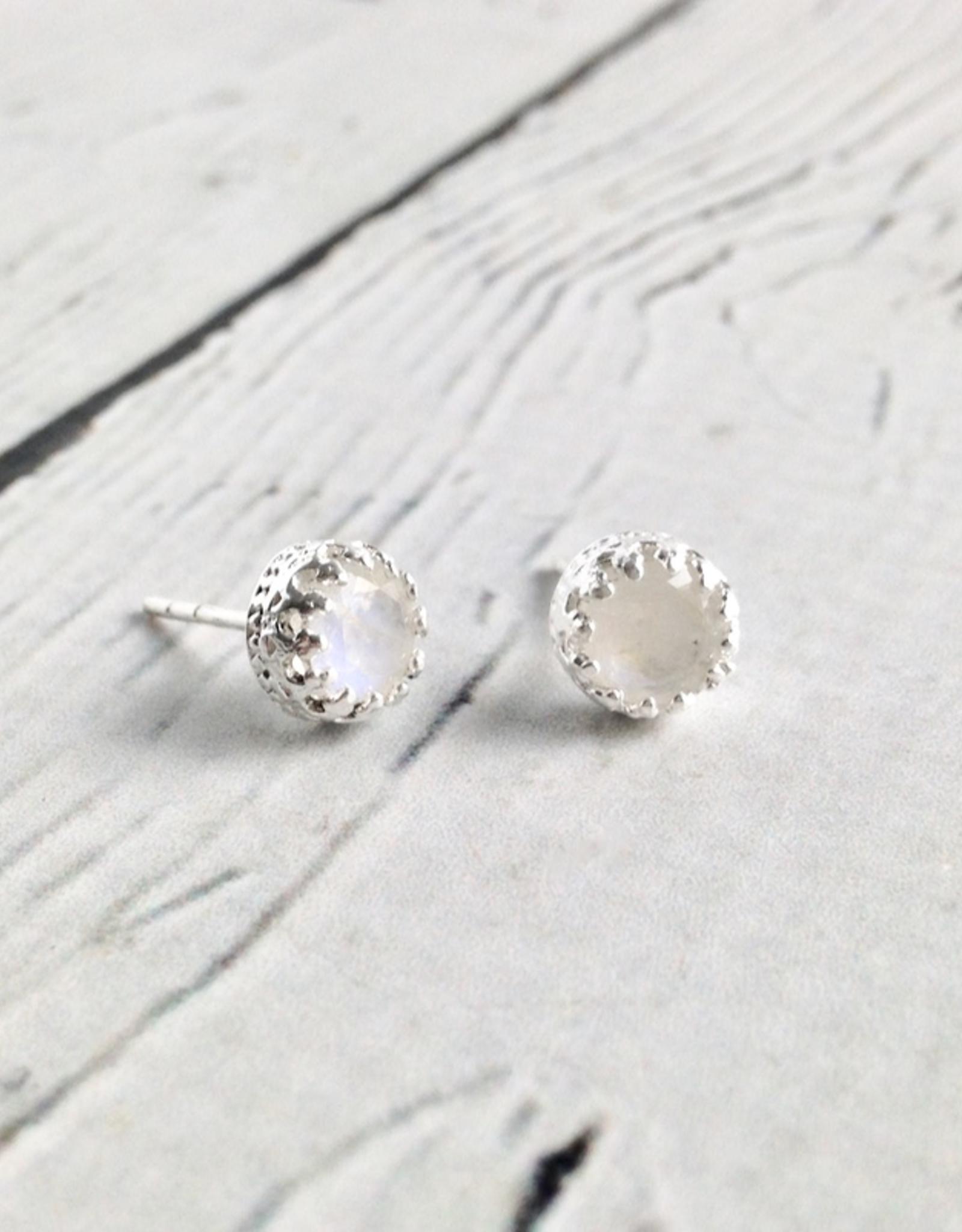 Sterling Silver Round Rainbow Moonstone Stud Earrings