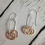 Handmade Three 14k GF Circles on Sterling Oval Earring