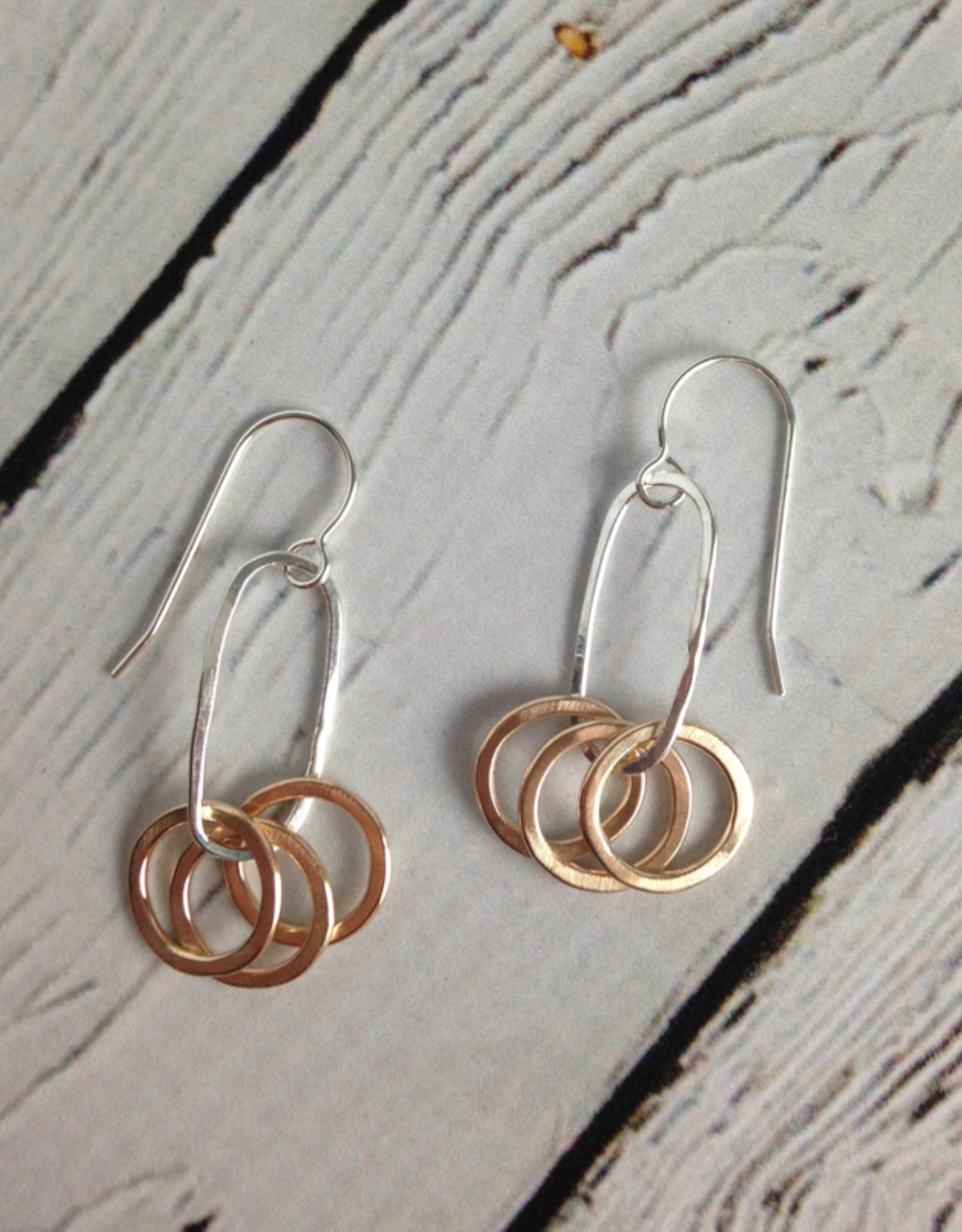 J&I Handmade Three 14k GF Circles on Sterling Oval Earring