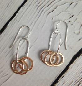 KnockKnock Handmade Three 14k GF Circles on Sterling Oval Earring