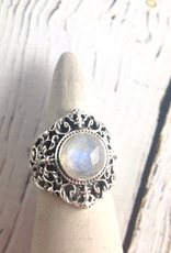 TigerMtn Sterling Silver Ring with Round Faceted Moonstone, Size 9