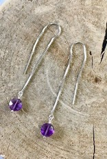 Handmade Silver Earrings with amethyst coin threader