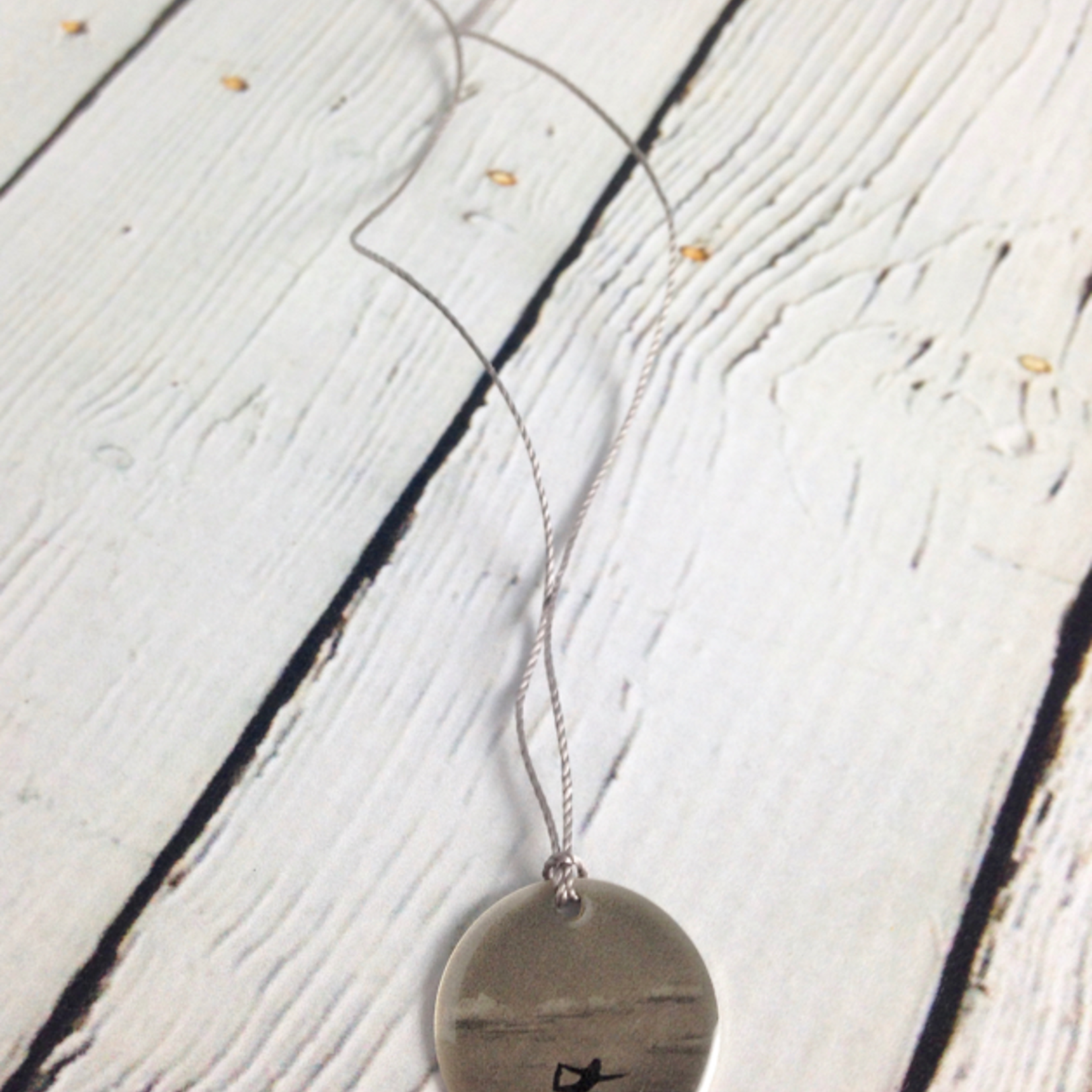 """Sterling Litho Standing """"Bow Yoga Pose"""" Necklace"""
