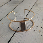Handmade Faceted Rectangle Labradorite Bezel set on opn 14k GF Wire Cuff Bracelet