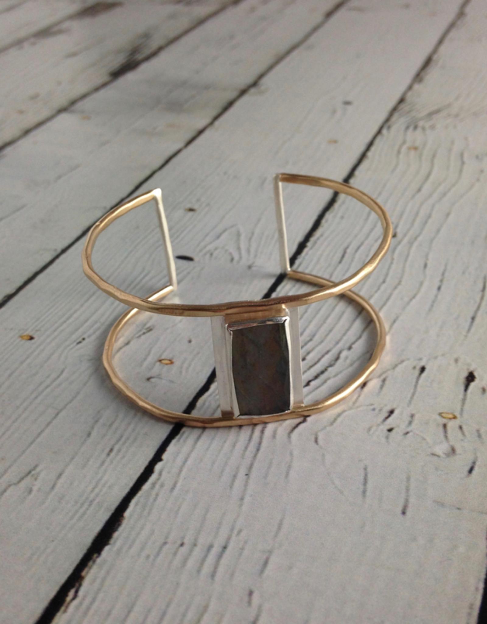 J&I Handmade Faceted Rectangle Labradorite Bezel set on opn 14k GF Wire Cuff Bracelet