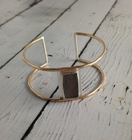 J&I Handmade Faceted Rectangle Labradorite Bezel set on opn 14k GF Wire Cuff Bracelet