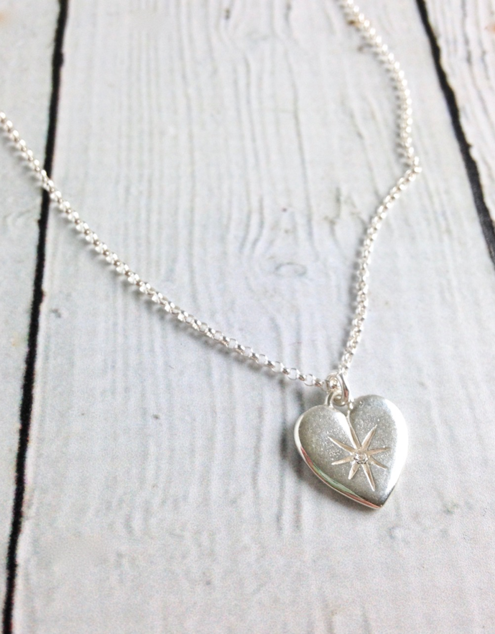 Sterling Silver Wonder-ful Woman Necklace, Heart Shaped pendant with cz on Silver chain