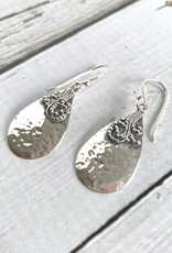 Sterling Silver Hammered Teardrop Fancy Earrings