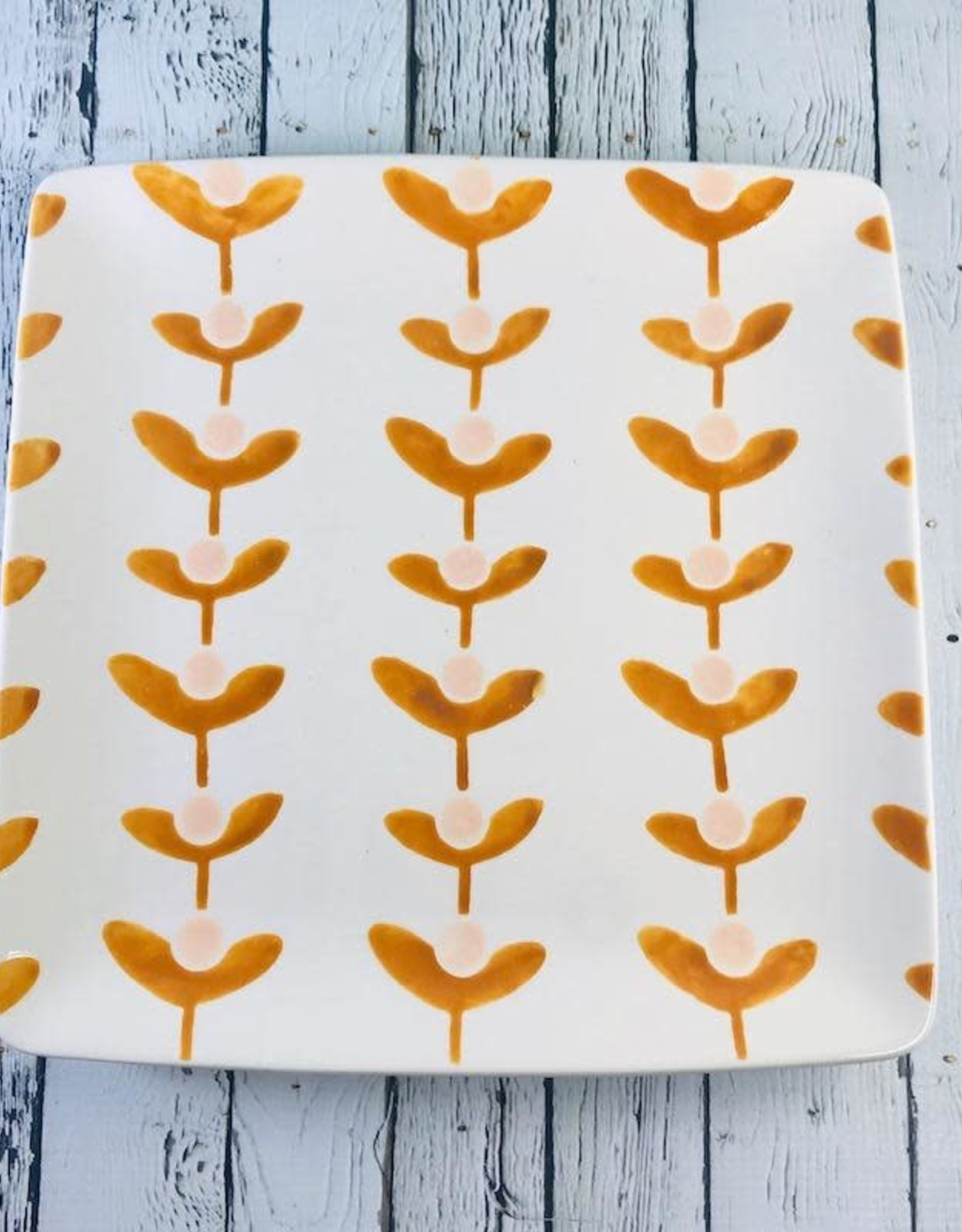 """CREATIVECOOP 11"""" Square Hand Painted Stoneware Plate with Floral Pattern"""