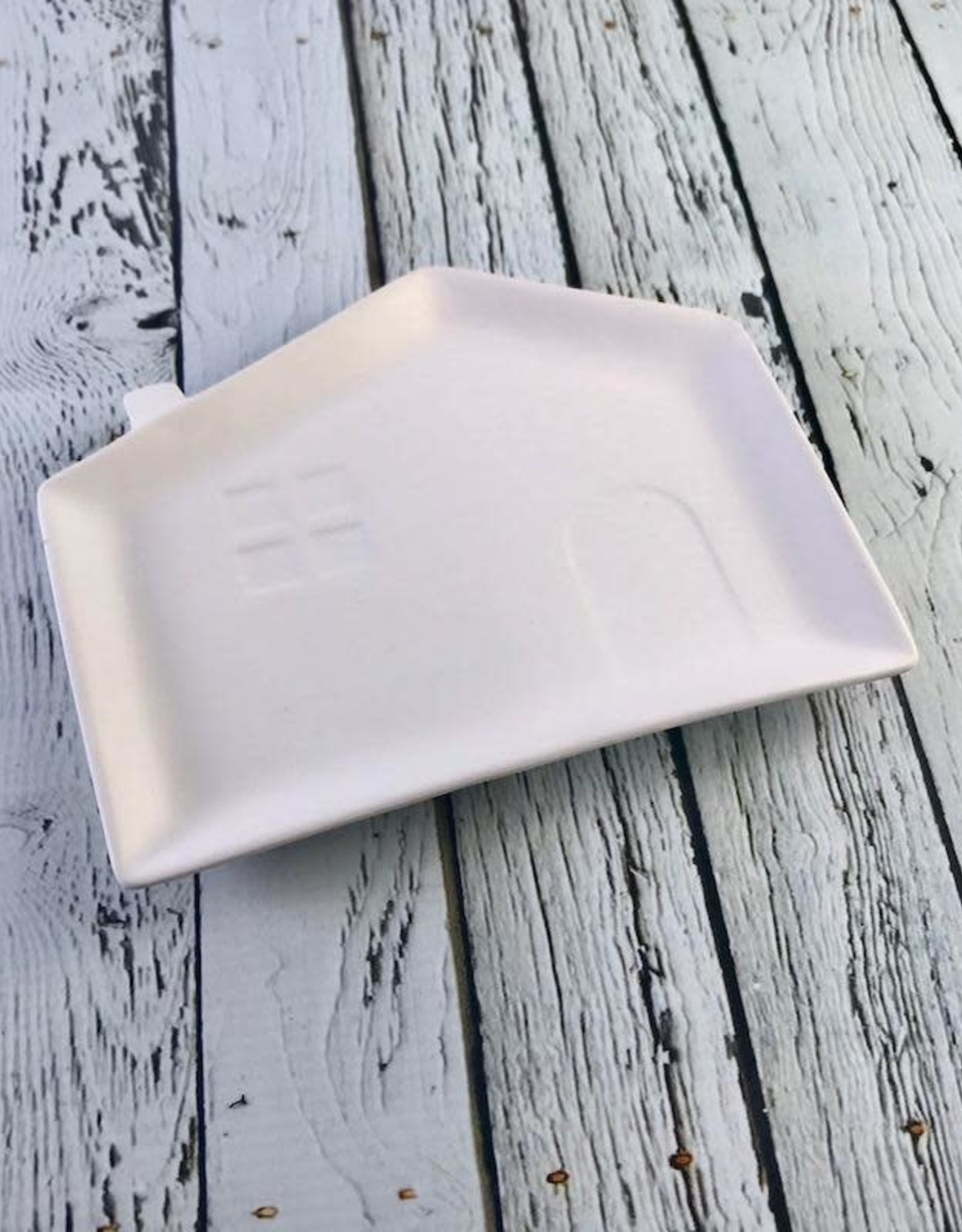 "7""L Stoneware House Plate"