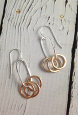 Handmade Three 14k GF Circles on Sterling Oval Earring