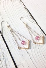 EVANKNOX Handmade Sterling Silver Earrings with short 14 k g.f. v, pink ruby on chain