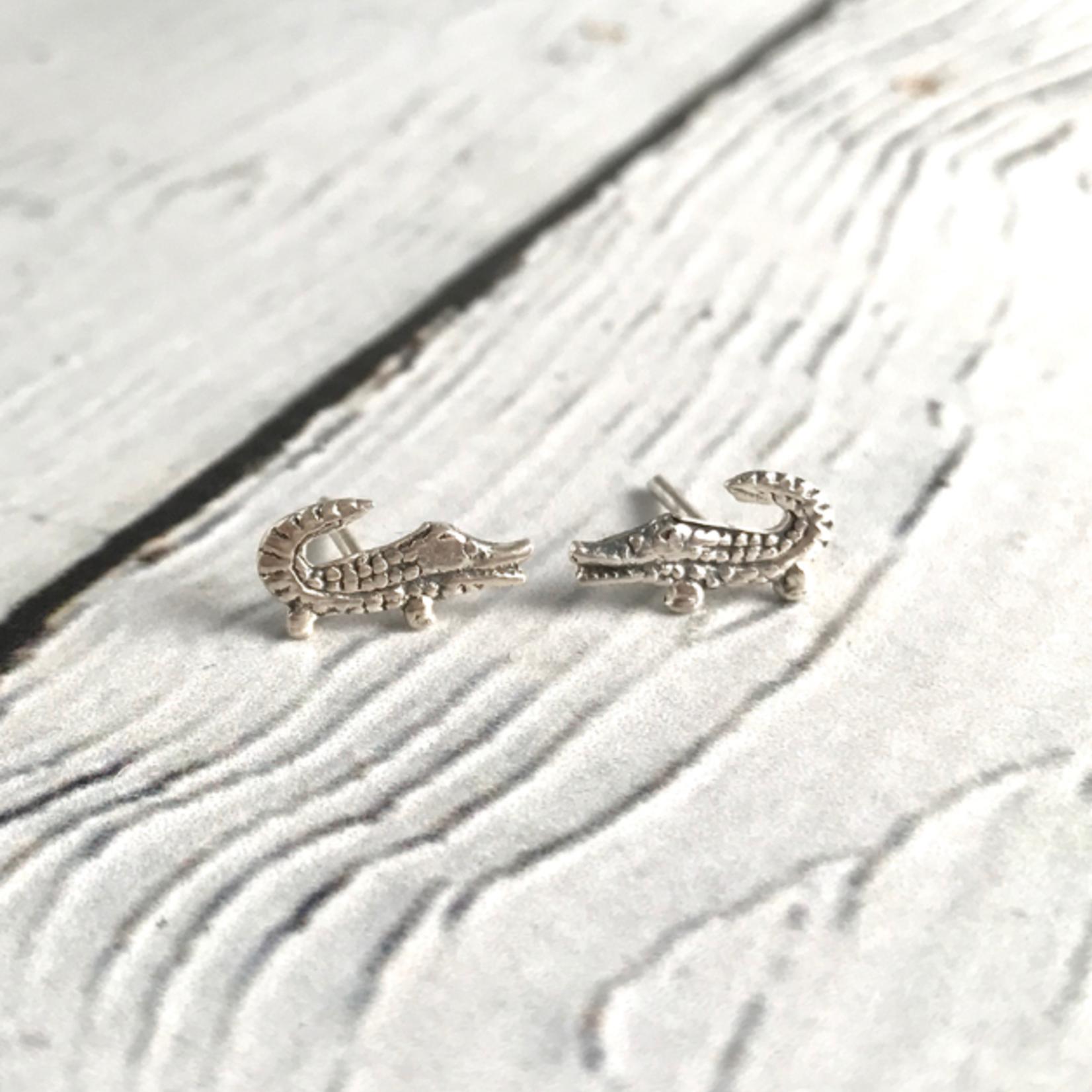 Sterling Silver Alligator Stud Earrings
