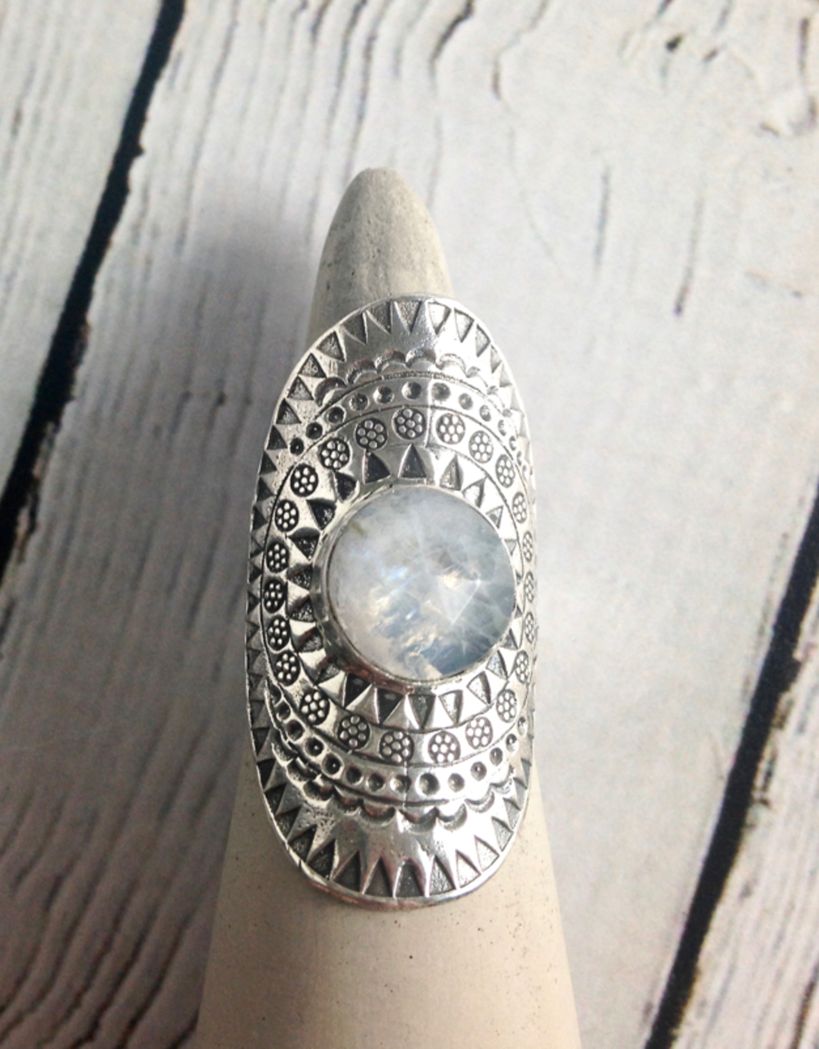 TigerMtn hilltribe Stamped Silver Ring with Round Faceted Moonstone, Size 9