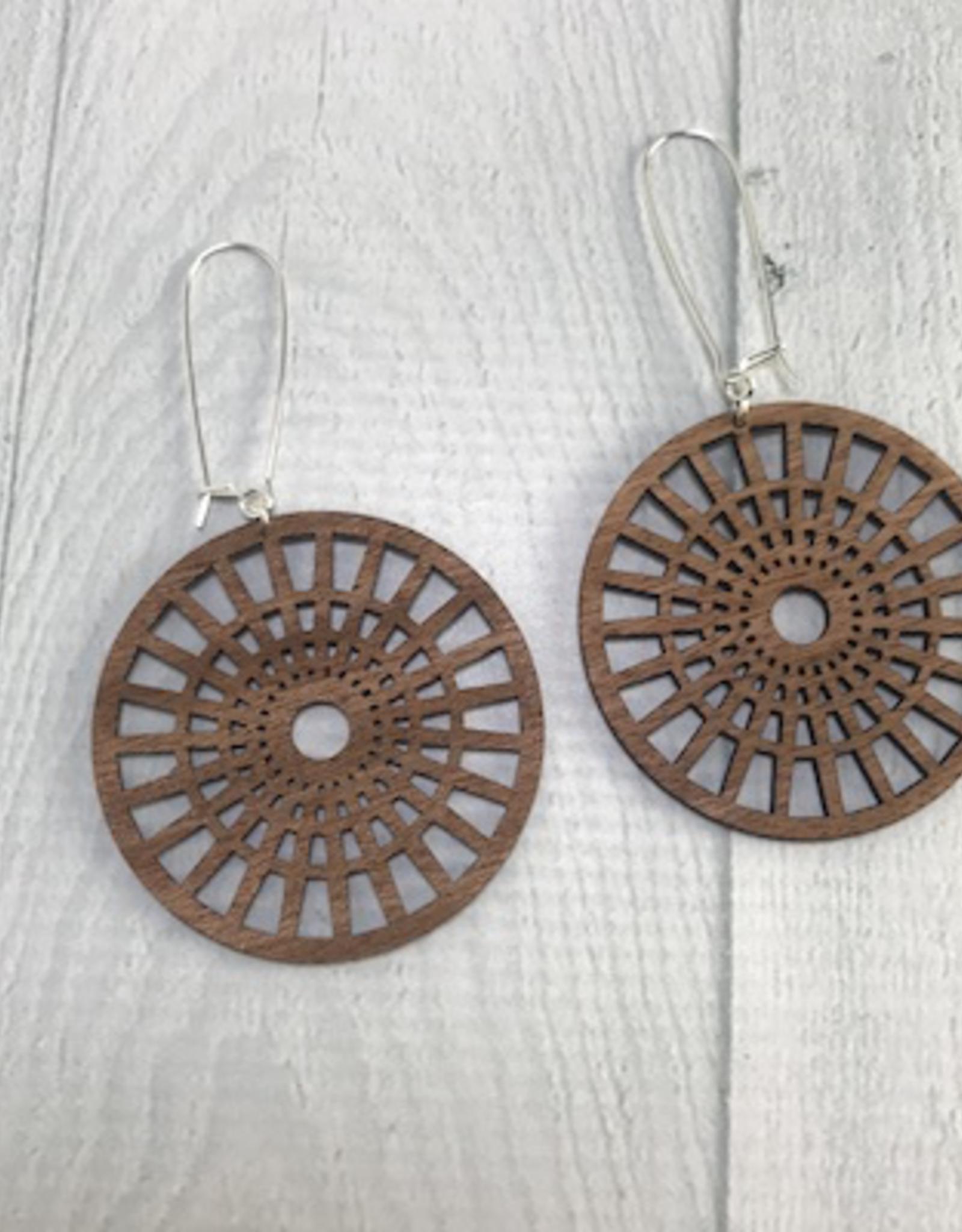 Full Circle Earrings / Long Length | MEDIUM WOOD