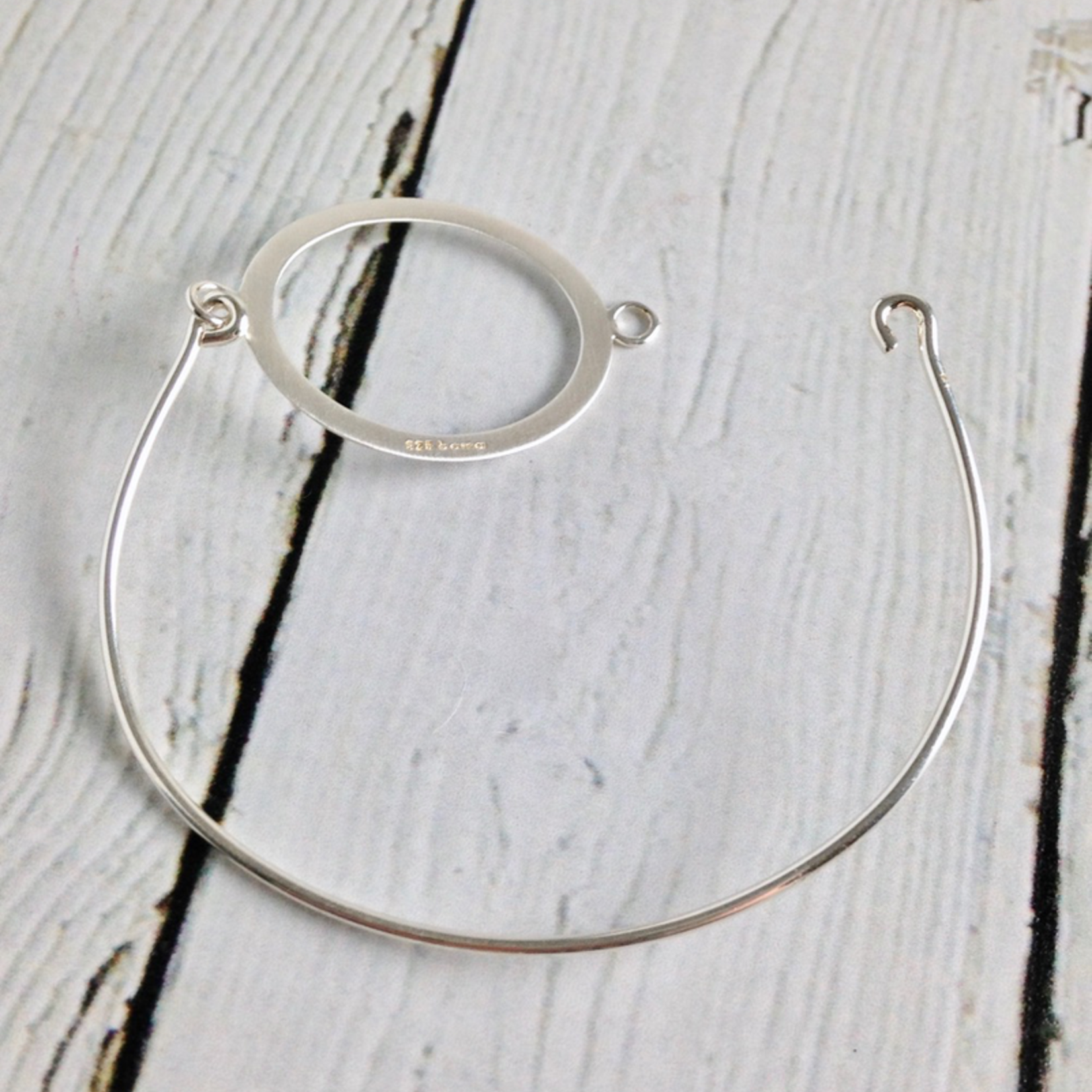 Sterling Silver Open Oval Bangle Matte and High Polish