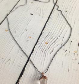 "HawkHouse Raw Tibetan Quartz Point on 18"" Sterling Chain Necklace"
