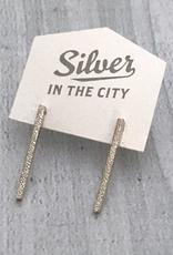 Handmade Diamond Dusted | sterling silver medium column studs