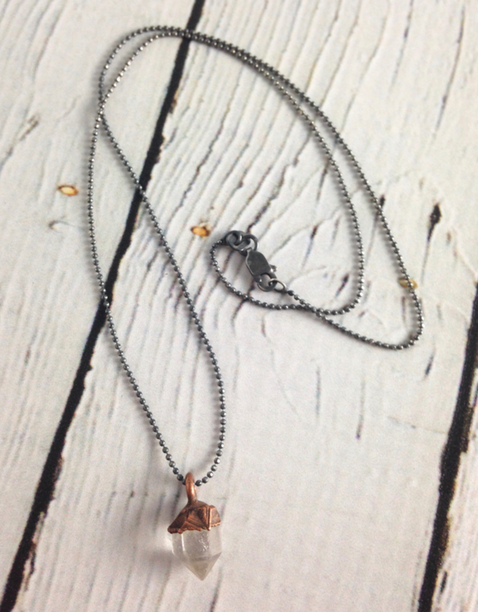 "HawkHouse Raw Tibetan Quartz Point on 18"" Sterling Chain Necklace"