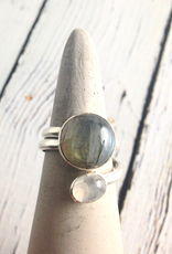 TigerMtn Sterling Silver Wrap Ring with Moonstone and Labradorite, Size 8