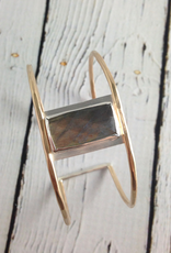 Handmade Faceted Rectangle Labradorite Bezel set on opn 14k GF Wire Cuff Bracelet