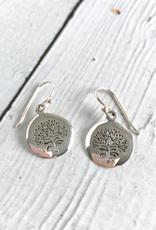 Silver Round Stamped Tree Earrings