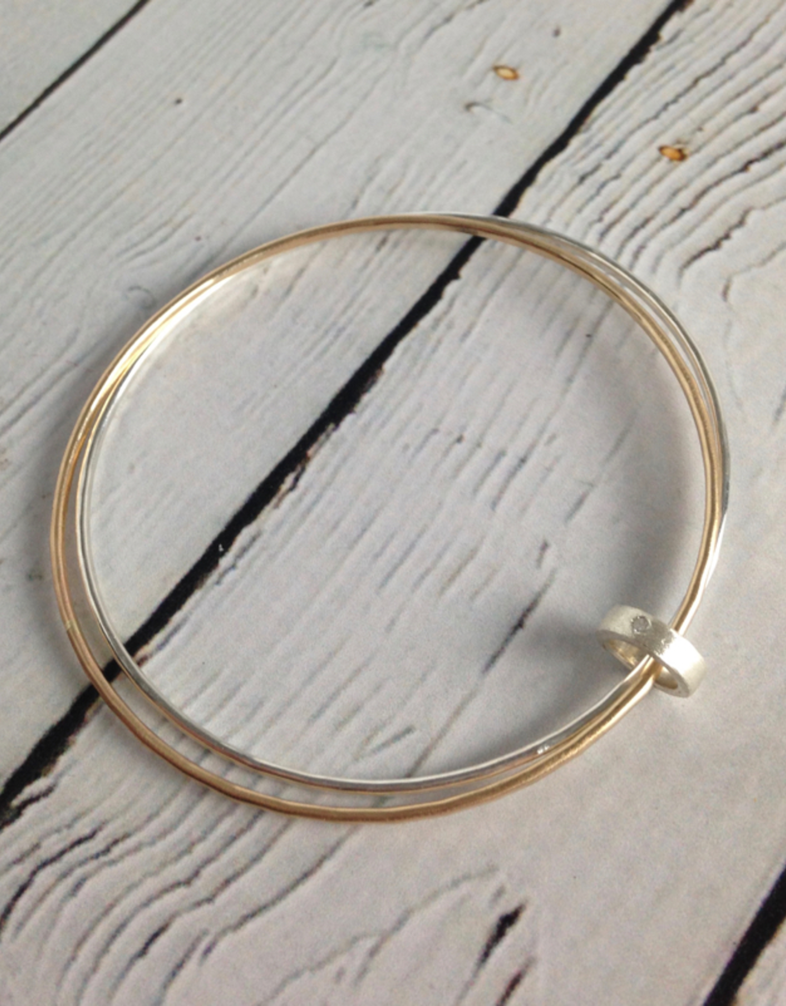Handmade Hammered 14k GF and Sterling Silver Bangle Bracelet set with CZ connector