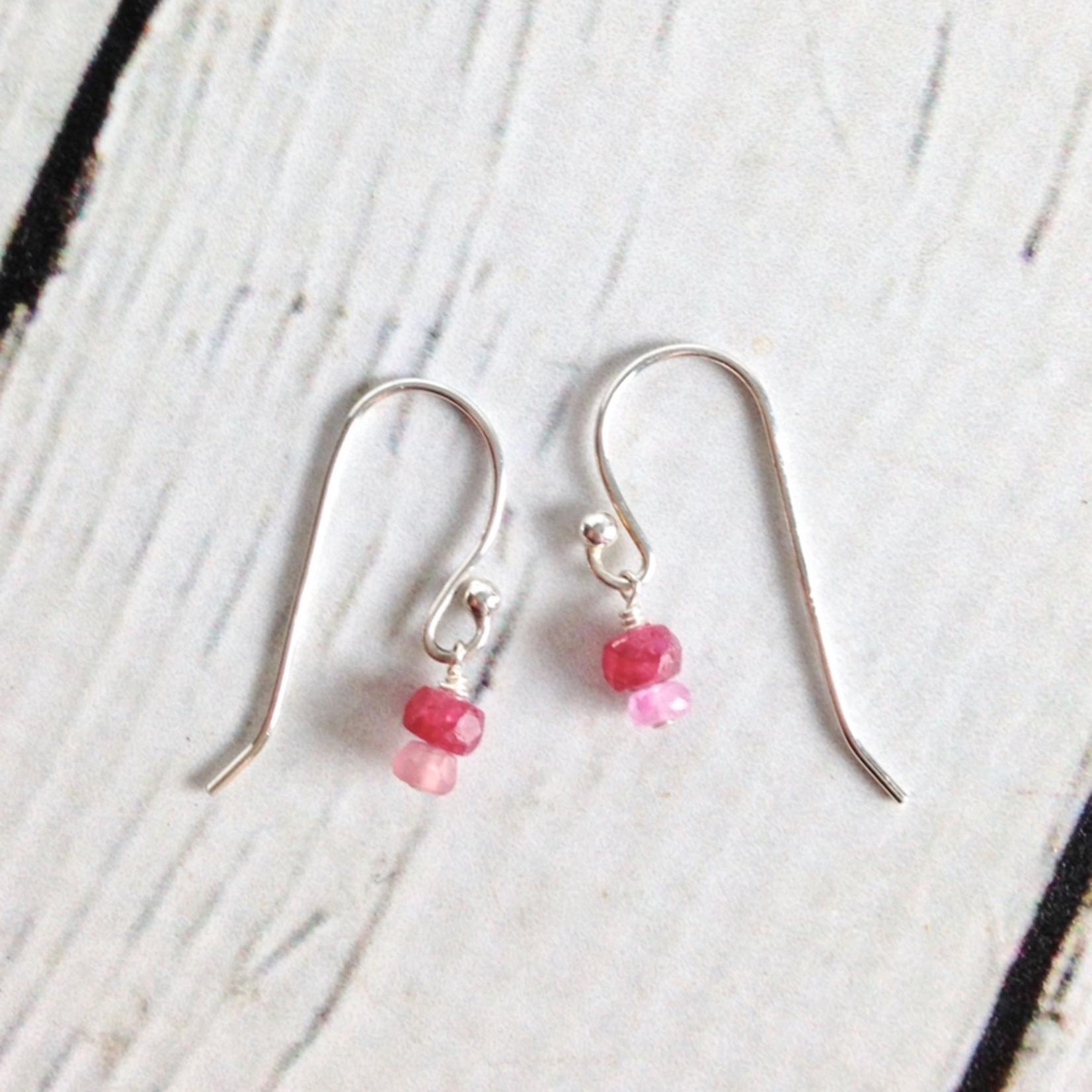 Handmade Tiny Stack Birthstone Earrings