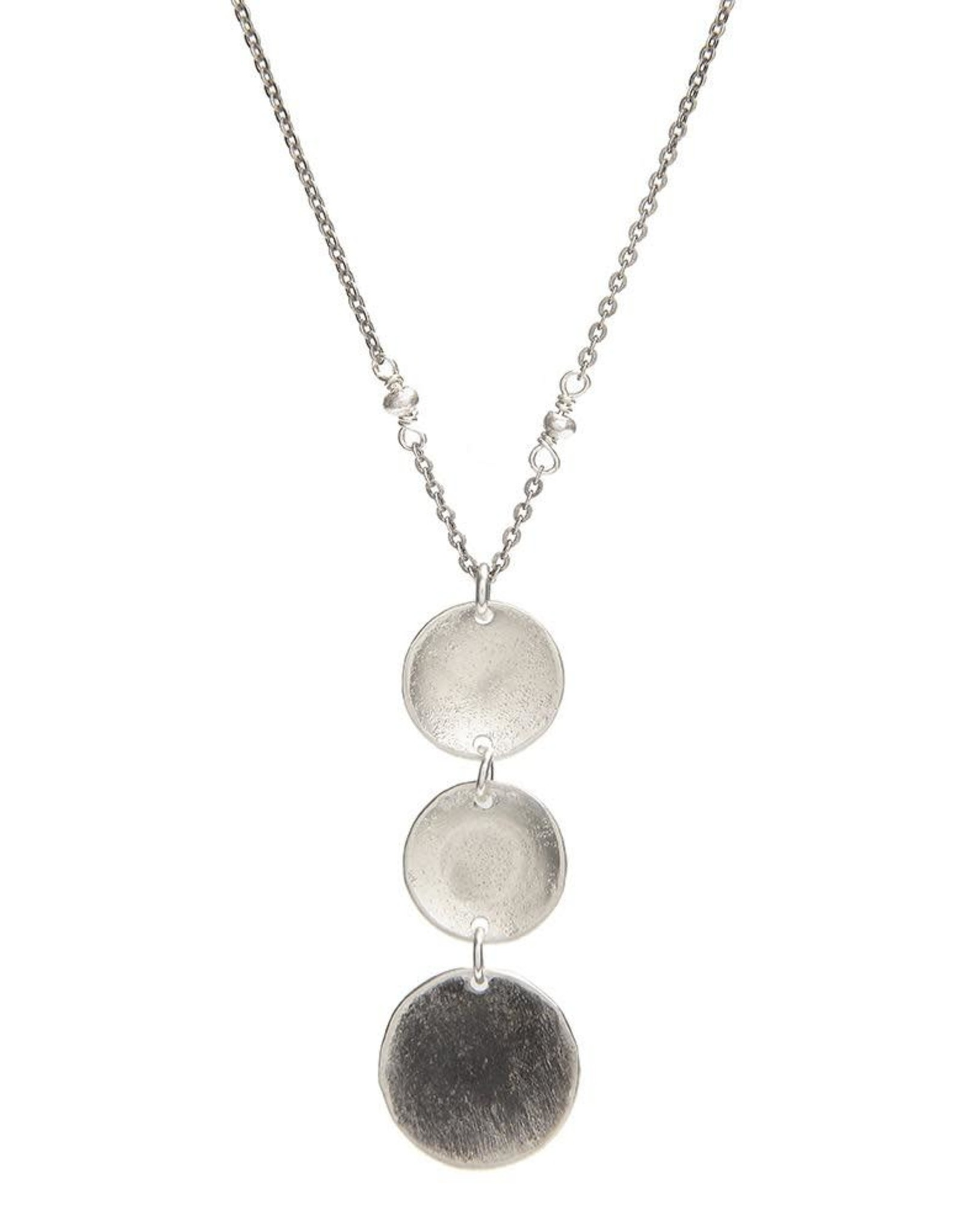Handmade Textured Hammered Sterling Disc Necklace