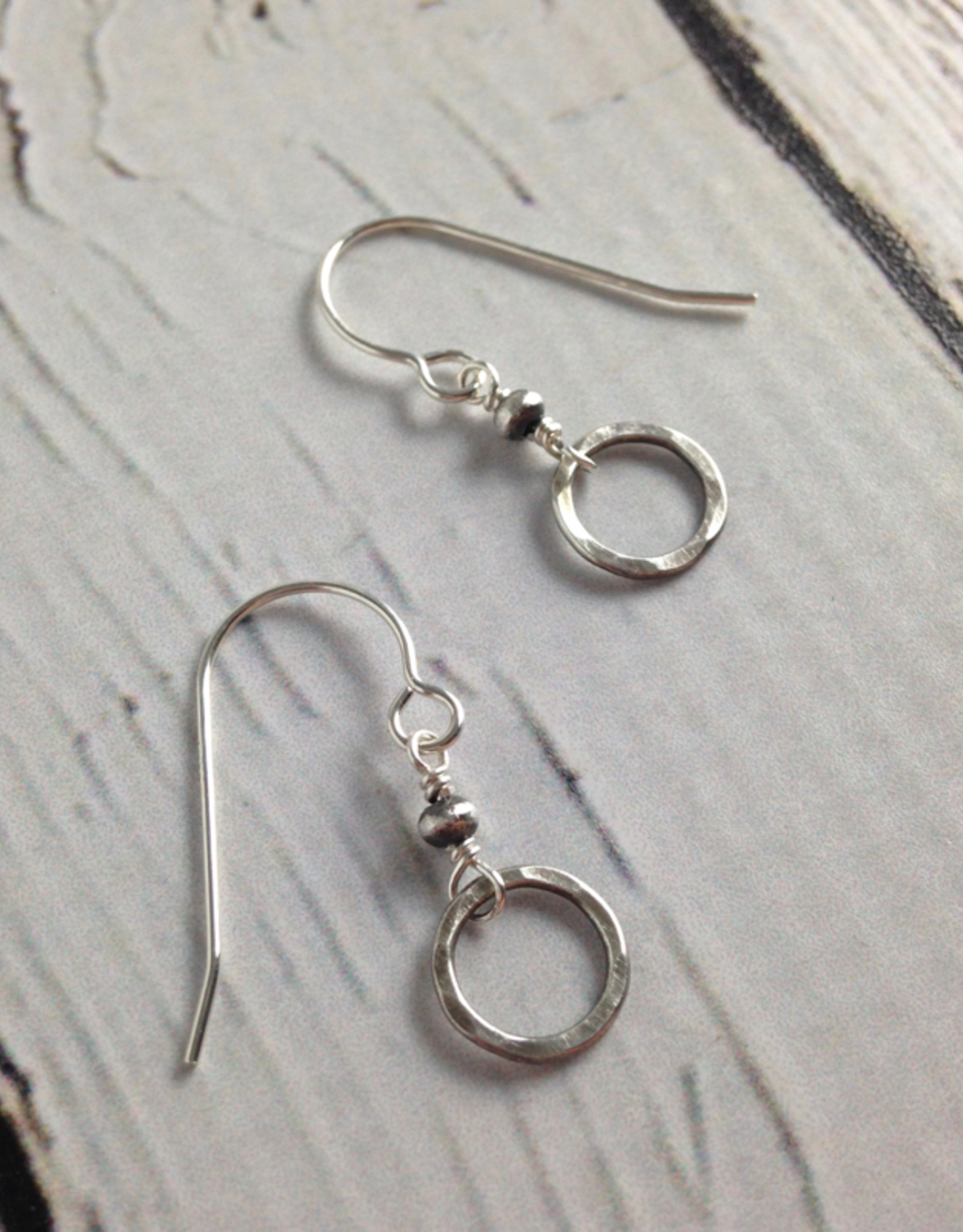J&I Handmade Hammered Sterling Circle and Bead Earring