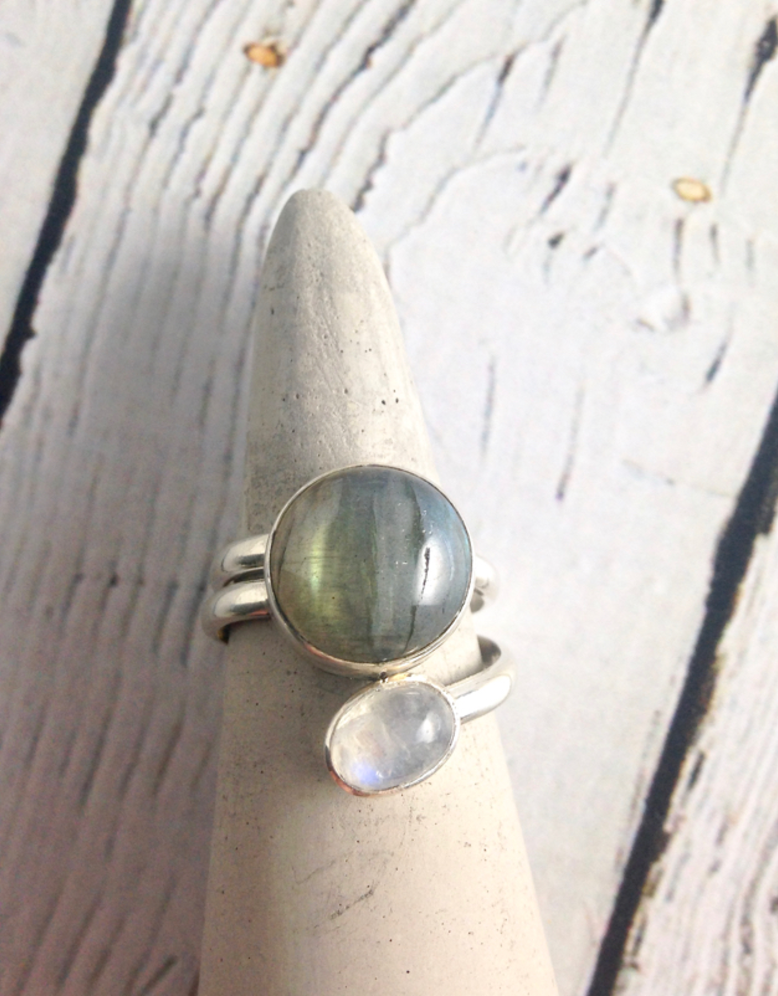Sterling Silver Wrap Ring with Moonstone and Labradorite, Size 9