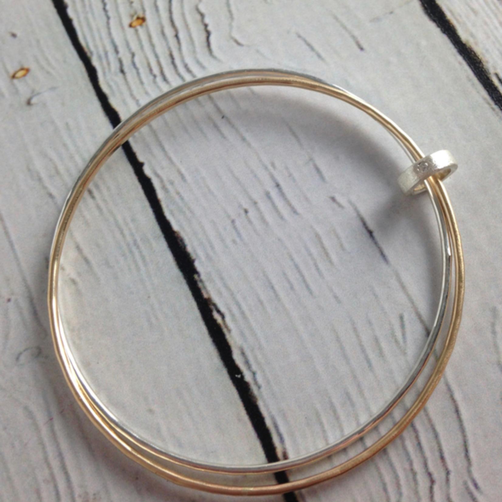 Handmade Hammered 14k GF and Sterling Silver Bangle Bracelet set with CZ connector