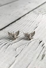 Sterling Silver Patriotic Eagle Stud Earrings