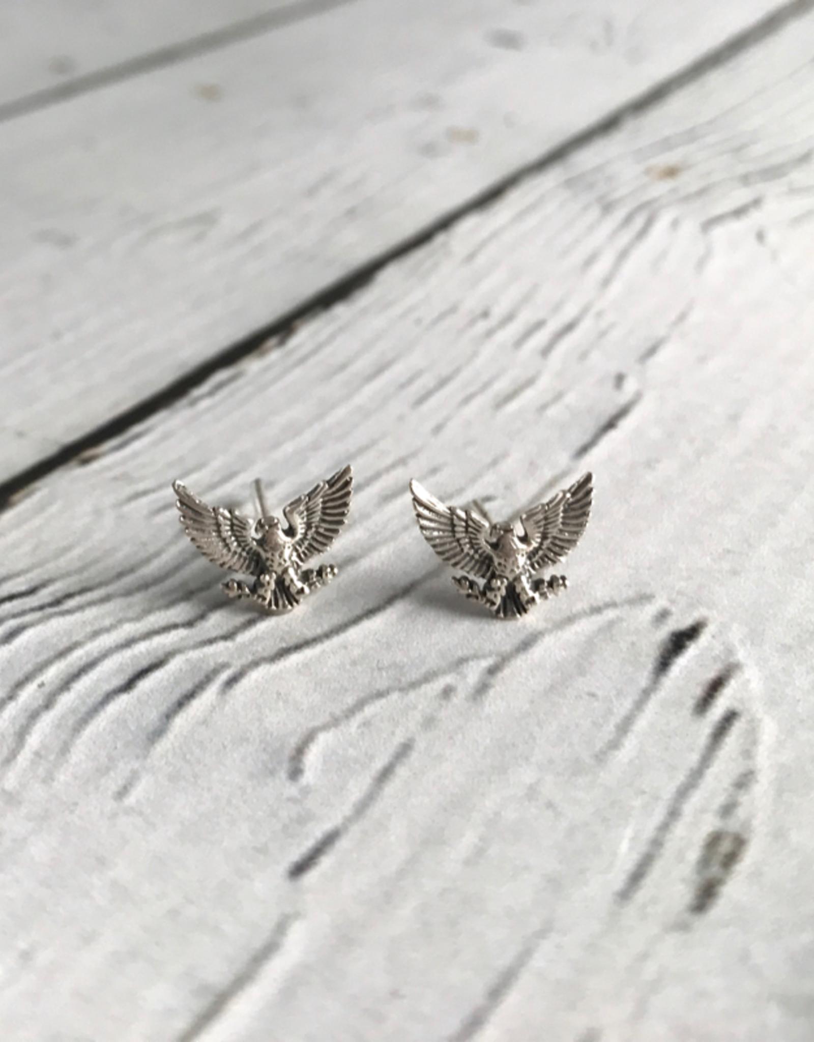 INDIGO Sterling Silver Patriotic Eagle Stud Earrings